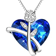 AOBOCO Sterling Silver Heart Necklaces for Women Blue Swarovski Crystals Rose-Flower Jewelry...