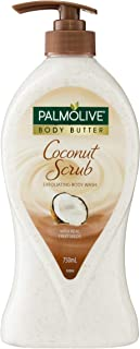 Palmolive Body Butter Coconut Scrub Exfoliating Body Wash with Real Fruit Seeds Recyclable, 750mL