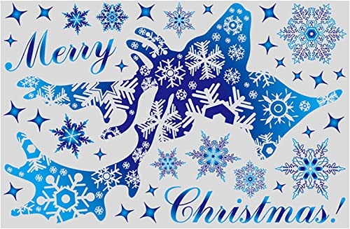 discount RiamxwR Christmas Snowflake&Elk Stickers - outlet online sale Lovely Christmas Theme Wall Blue Decal Merry Christmas for Kids Room Nursery Living Room Wonderland Decoration online sale (Style D) outlet sale