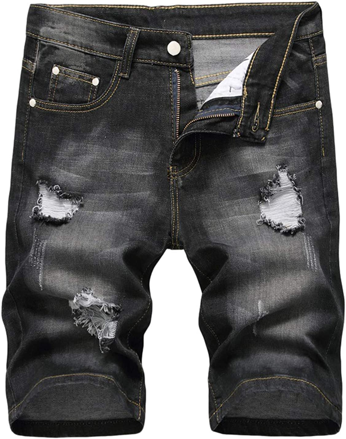 PUWEI Men's Casual Ripped Wash Denim Shorts Distressed Frayed Jean Short with Pockets