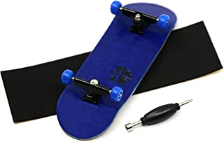 Prolific Complete Fingerboard with Upgraded Components - Pro Board Shape and Size, Bearing Wheels, and Trucks - 32mm x 97mm Handmade Wooden Board - The Midnight Blues Edition