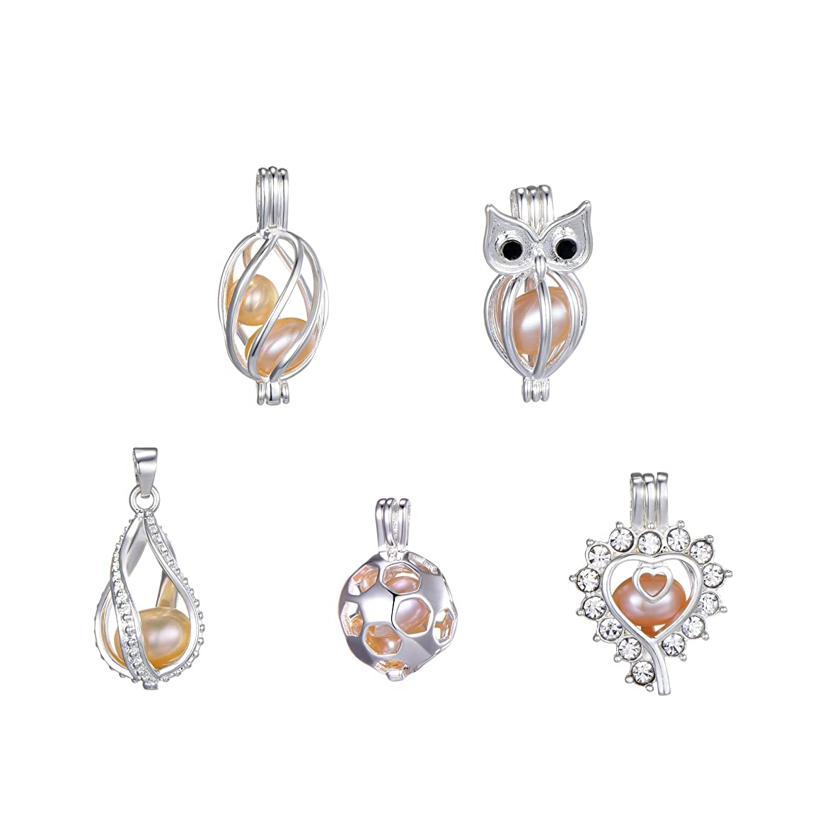 5set Hollow Pearl Cage Silver/Rhodium Plated Beads Cage Locket Pendant Necklace/Women Gift Mother's Day Gift(5pcs Pendant+5pcs Pearls) (Silver 1)