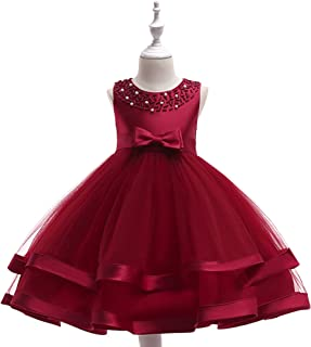 NOMSOCR Kids Girl Bowknot Costume Tutu Dress Pageant Christmas Party Princess Dresses (4-5 Years, Wine Red)