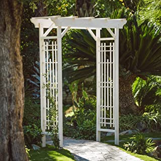 Beaumont 7-Ft. Patio Arbor Made w/ China Fir Wood in White Wash 60W x 29D x 84H in.