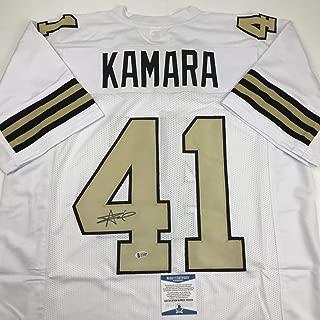 Autographed/Signed Alvin Kamara New Orleans Color Rush Football Jersey Beckett BAS COA