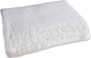 100% Organic Muslin Cotton Throw Blanket for Adult Kids Couch Bed, 4-Layer Pre-Washed Natural Plant Dyed Yarn, Breathable Soft, Cozy Warm Lightweight Bed Blanket for Summer, All Season (55x60 White)
