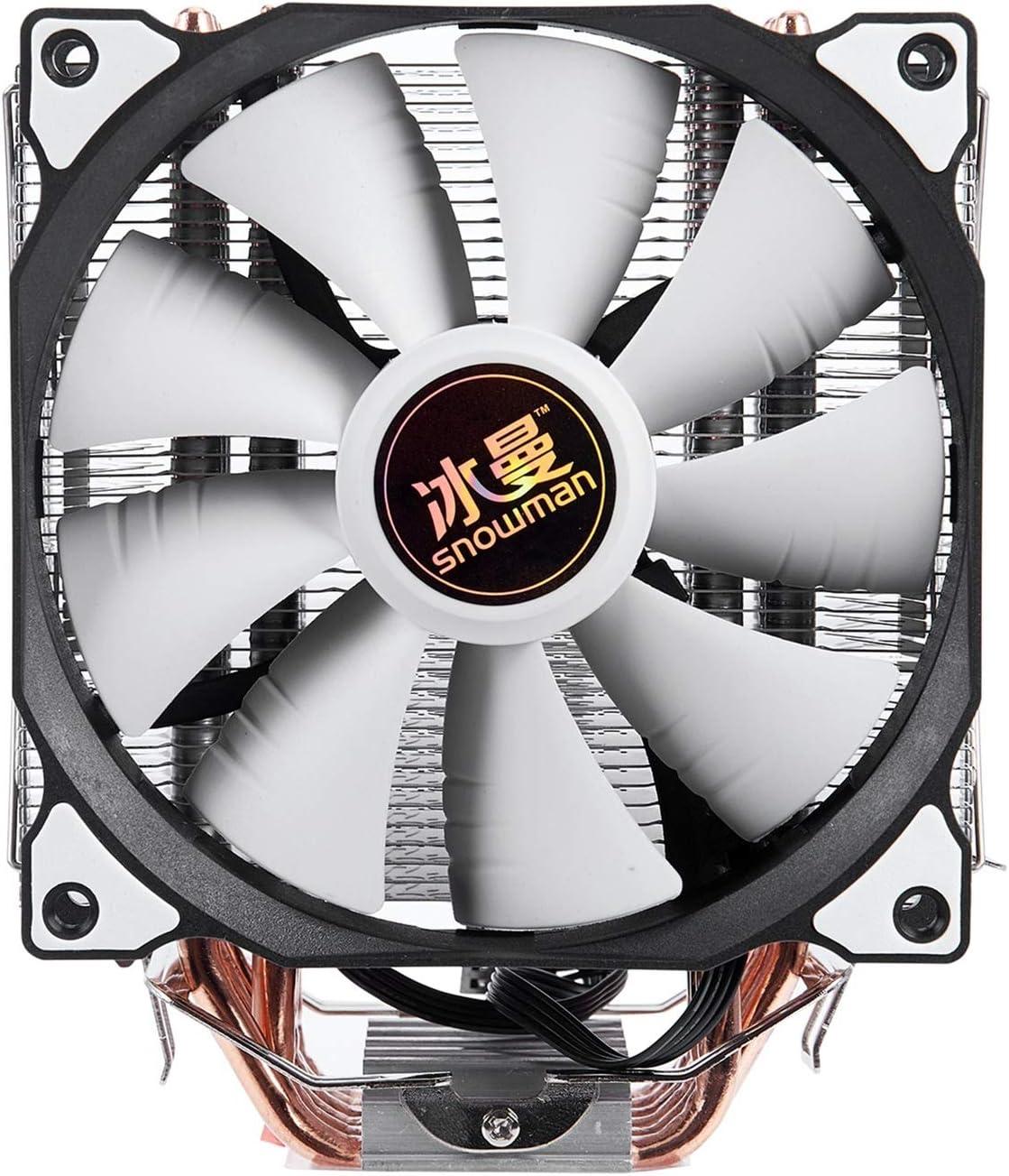 Range Tranquilo 4Pin CPU Cooler 6 Tubo De Calefacción Un Solo Ventilador De Refrigeración 12 Cm Ventilador LGA775 1151 115X 1366 Soporte Intel AMD Fácil de Transportar e Instalar