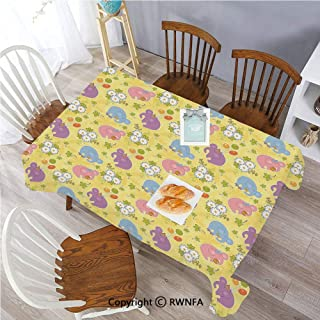 55 x 120 Inch Tablecloth Lively Spring Nature Chubby Elephants Playing Ball Balloons Daisies Polyester Spill-Proof Water Repellent Table Cover for Dinning Room Multicolor