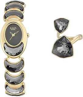 95107YM01 ساعة تيتان راجا المعادن الأسود للسيدات مع خاتم الإصبع