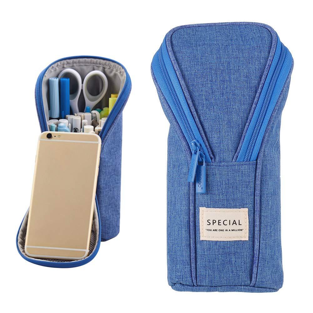 Opopark Estuche de Lápices de Pie Bolsa de Lápices de Lona Bolsa de Lápices para Estudiantes Adolescentes(Azul): Amazon.es: Oficina y papelería