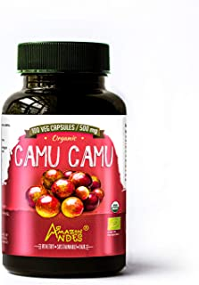 Amazon Andes - Organic camu camu Capsules - Powerful Vitamin C - 100 x 500 mg - Organic Certified - Vegan - Non GMO - Glut...