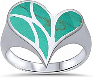 Fashion Heart Ring Simulated Stone 925 Sterling Silver Choose Color