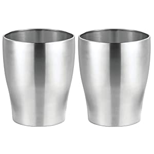 mDesign Round Metal Small Trash Can Wastebasket, Garbage Container Bin for Bathrooms, Powder Rooms, Kitchens, Home Offices - Pack of 2, Durable Stainless Steel with Polished Finish