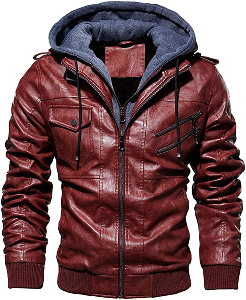 haoricu Men's Faux Leather Motorcycle Jacket Casual Zipper Hoodies Winter Plus Size Plush Lining Coat Jacket