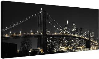 Wallfillers - Lienzo decorativo panorámico para oficina, diseño del puente Brooklyn de Nueva York por la noche