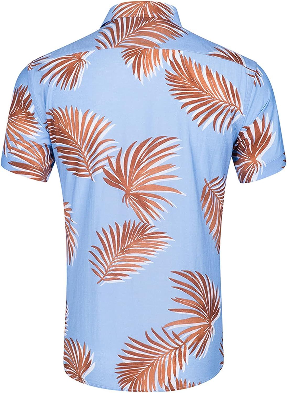 Men's Tropical Short Sleeve Shirts Cotton Button Blouse Floral Print Beach Aloha Hawaiian Quick Dry Shirts