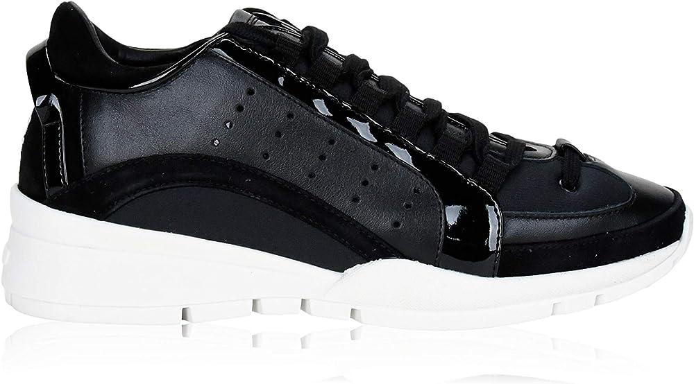 dsquared2 scarpe sneakers per donna in pelle e tessuto lace-up 551