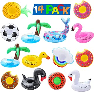 DELFINO 14Pcs Inflatable Drink Holders Pool Drink Holder Floats Inflatable Cup Holders Cup Coasters for Summer Pool Party