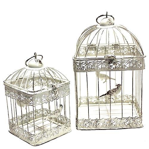 M/étal Altgr/ün-gelbstich Cage /à oiseaux d/écorative style colonial antique shabby r/étro Set M und L style maison de campagne VK4RH-CR