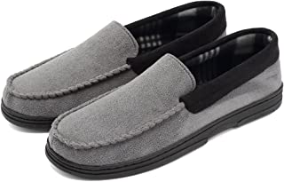 EQUICK Men's Casual Memory Foam Pile Lined Slip On Moccasin Flats Slippers Micro Suede Indoor Outdoor Rubber Sole