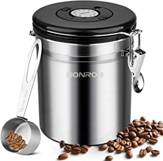KINCREA JF006 Storage Airtight Canister with Scoop Coffee Bean Ground Container,Stainless Steel with Co2 Valve and Calendar Wheel for Freshn, 1, Sliver