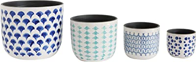 Creative Co-Op Hand Painted Stoneware Planters (Set of 4 Sizes)