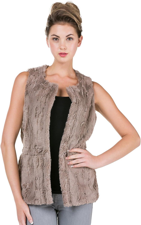 Melody Round Neck Faux Fur Open Vest