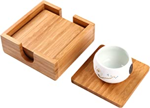 """Utoplike Drink Coasters, 4 Pack Bamboo Table Coaster Set with Holder, Square Cup Mat Classy for Your Table, 4.25"""" x 4.25"""" x 1.8"""", Stylish Furniture Protection"""