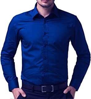 Men's Royal Blue Black Solid Full Sleeve Shirts