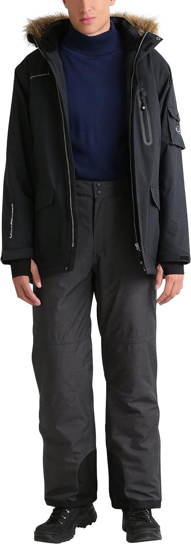 Ultrasport Advanced Herren Softshell Parka Finley Ski -// Snowboardjacke Winter-//Outdoorjacke aufgesetzte Taschen Softshelljacke Kapuze mit abnehmbaren Kunstfell Daumenschlaufen lang