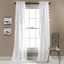 Lush Decor Avery Curtains Ruffled Shabby Chic Style Window Panel Set for Living, Dining Room, Bedroom (Pair), 84 by 54-Inc...