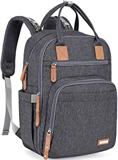 Diaper Bag Backpack, iniuniu Large Unisex Baby Bags Multifunction Travel Back Pack for Mom and Dad with Changing Pad and S...