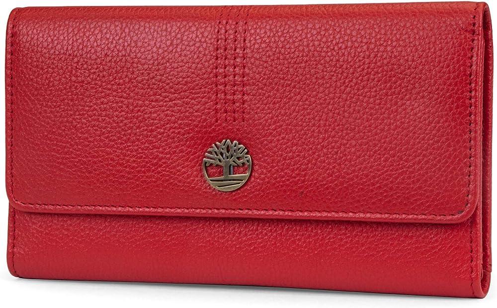 Timberland leather rfid flap wallet, portafoglio per donna, porta carte di credito, in pelle