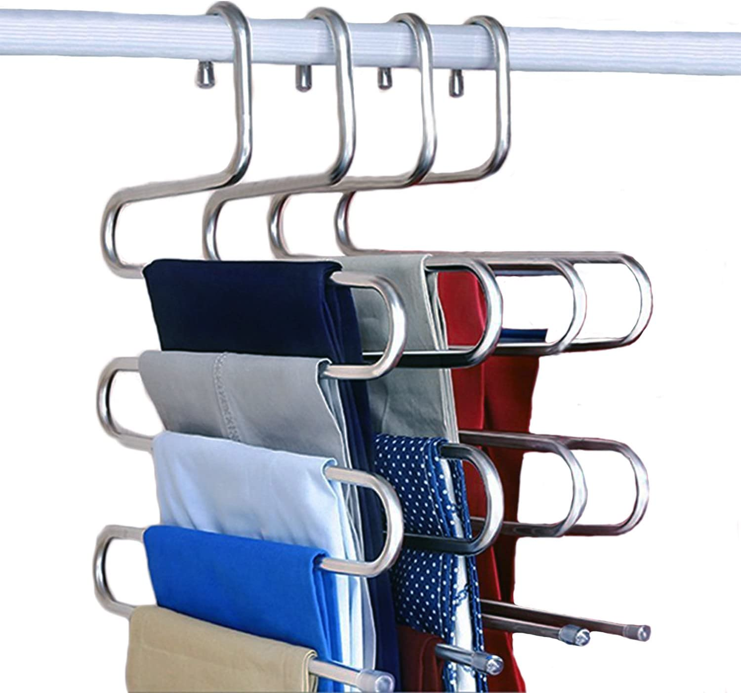 NewShimer S Shaped 5 Tier Hangers A surprise price is realized Stainless Clothes Max 88% OFF Pants Steel