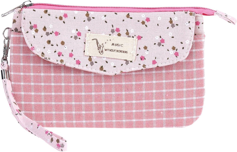 Damara Womens Coins Purse Grid Patterned Flap Zipper Wallet,Pink