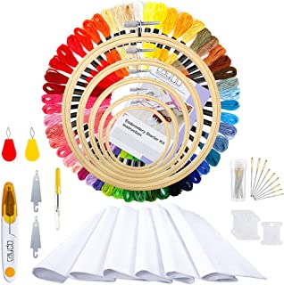 Caydo Embroidery Kit for Beginners with Instructions, 59 x 39 Inch Classic Reserve Aida, 50 Color Threads and Cross Stitch Tool Kit