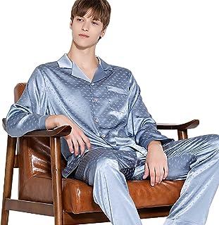 Men Long Sleeve Pjs Pajama Set Silk Nightwear Sleepwear Top & Bottoms Outfits Loose Loungewear,Blue,XXL