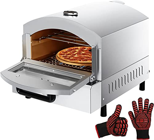 """high quality Outdoor Gas Pizza Oven Double high quality Cooking Portable Propane Pizza Oven Countertop Gas Fired Pizza Maker with 13"""" Pizza Stone for Garden Camping 2021 Party Catering Event Backyard outlet online sale"""