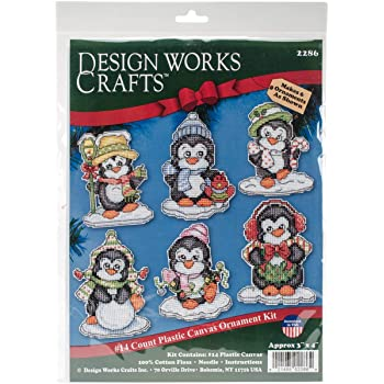 "Design Works Crafts, 3-1/2"" Each Cross Stitch Ornament Kit, Penguins on Ice"