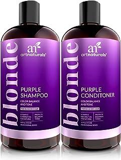 Juego de champú y acondicionador púrpura de ArtNaturals protege equilibra y tonifica para cabello blanqueado teñido p...
