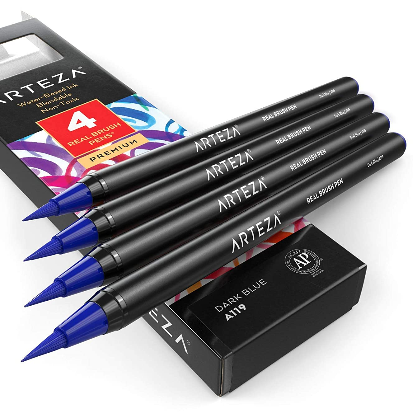 ARTEZA Real Brush Pens (A119 Dark Blue) Pack of 4, for Watercolor Painting with Flexible Nylon Brush Tips, Paint Markers for Coloring, Calligraphy and Drawing