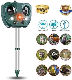 Repelente de animales, disuasión de mascotas a prueba de agua por ultrasonidos con energía solar para jardines con sensor de movimiento y luz intermitente para gatos, perros, aves, etc. .