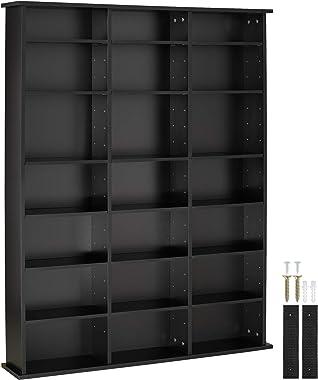 TecTake Étagère Rangement CD/DVD Meuble de Rangement en Bois Bibliothèque 18 Tablettes- Diverses Couleurs - (Noir)
