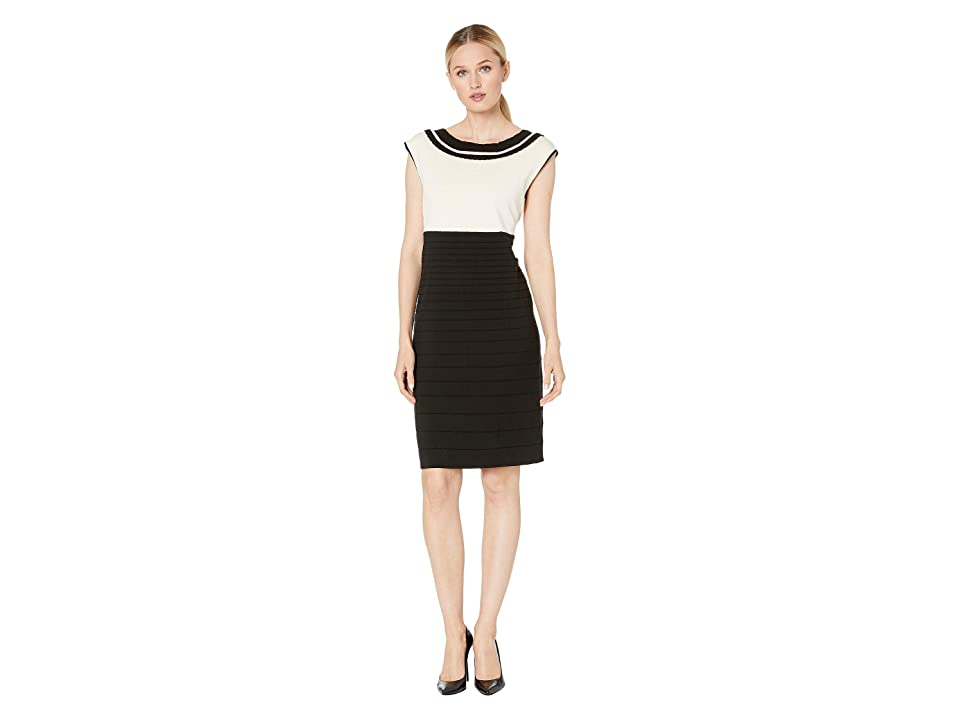 Anne Klein Color Block Scallop Trim Knit Dress (Anne Black/Anne White) Women