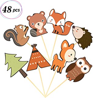 Yaaaaasss! 48Pcs Woodland Creatures Cupcake Toppers Forest Animals Cake Decorations Woodland Theme Baby Shower Birthday Party Supplies