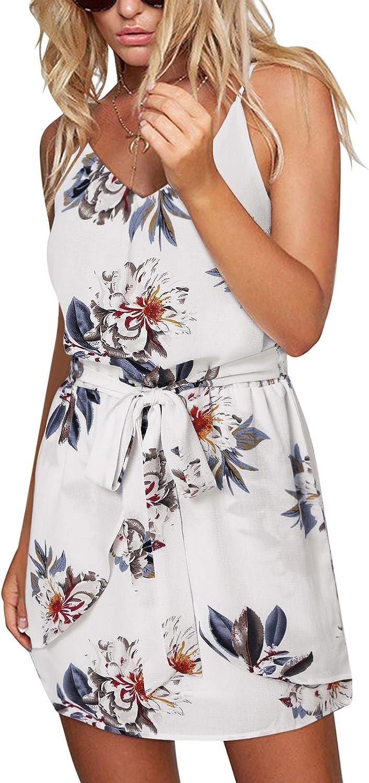 ZANZEA Women's Sleeveless Floral Printed Spaghetti Strap Beach Summer Mini Dress Boho V Neck Casual Sundress