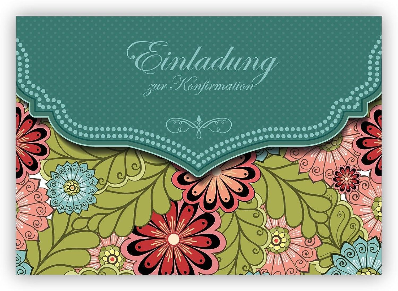 Im 16er Set privat & gewerblich    Edle Einladungskarte mit modernem Blaumen Muster in grün für Mädchen  Einladung zur Konfirmation B079R7HX13 | Neuer Stil  e54c69