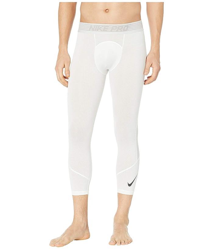 Nike Pro Breath Tights 3/4 (White/White/Black) Men