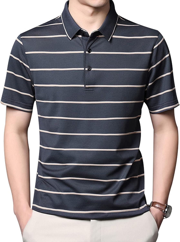 Summer Men's Short Sleeve Mulberry Silk T-Shirt Loose Lapel Striped T-Shirt Top Tee Button Down Lapel Collar