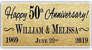 50th Wedding Anniversary Gold Banner Party Decoration
